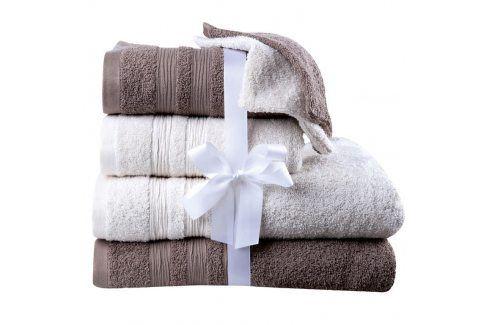 Bavlněné froté ručníky, osušky a žínky smetanovo-hnědé 6 ks Ručníky