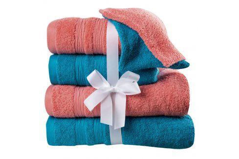 Bavlněné ručníky, osušky a žínky korálovo-tyrkysové 6 ks Ručníky