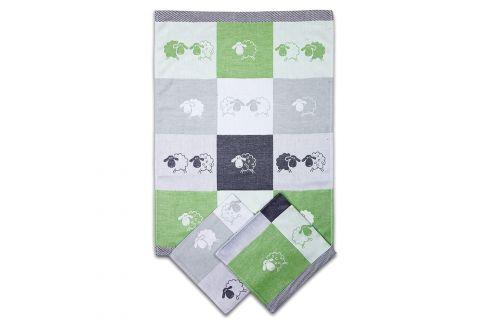 Set kuchyňských utěrek Ovečky zelený 50x70 cm bavlna Utěrky