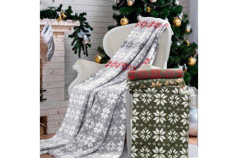 Vánoční deka Kerstin 150x200 cm šedá Dekorační polštářky a deky