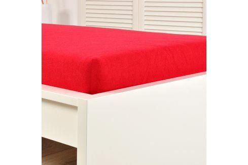 Napínací prostěradlo jersey červené 160x200 cm dvojlůžko Bavlna - jersey Jersey prostěradla
