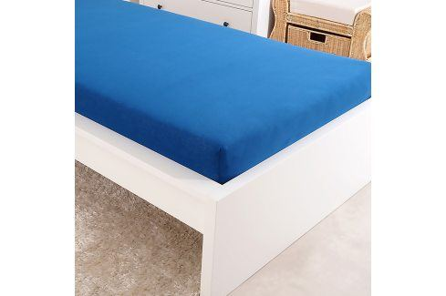 Napínací prostěradlo jersey modré Dvoulůžko Bavlna - jersey Jersey prostěradla