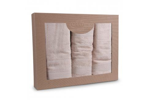 Dárková sada ručníků Moreno béžová Set 1ks Dvoudílný set Bambusové ručníky a osušky