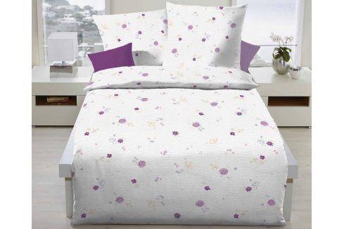 Povlečení Tea Rose fialové 140x200 jednolůžko - standard Krep Květinové vzory
