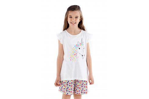 Dívčí pyžamo Polly krátké bílé  barevná Akce týdne