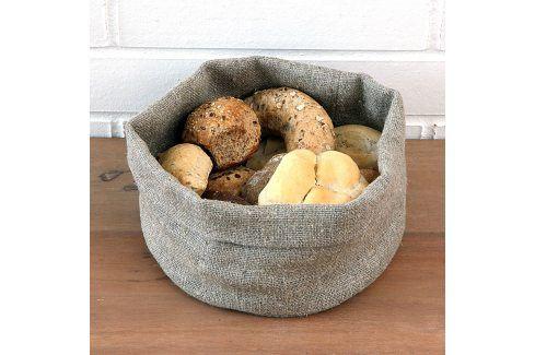 Košík na pečivo lněný M Výška: 14 cm, průměr: 20 cm béžová Ubrusy