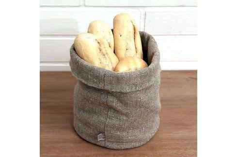 Košík na pečivo lněný L Výška: 20 cm, průměr: 18 cm béžová Ubrusy