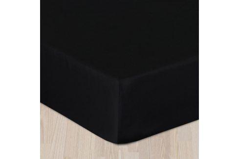 Napínací saténové prostěradlo černé Jednolůžko Bavlna - satén Saténová prostěradla