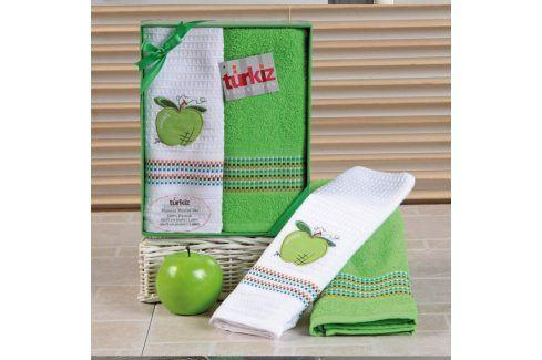 Dárková sada ručníku a utěrky Mimosa jablko 50x70 cm bavlna Dárkové sady