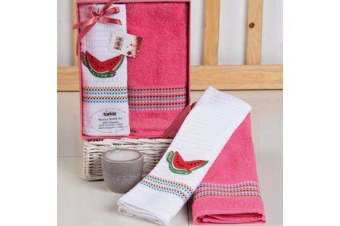 Dárková sada ručníku a utěrky Mimosa meloun 50x70 cm bavlna Dárkové sady