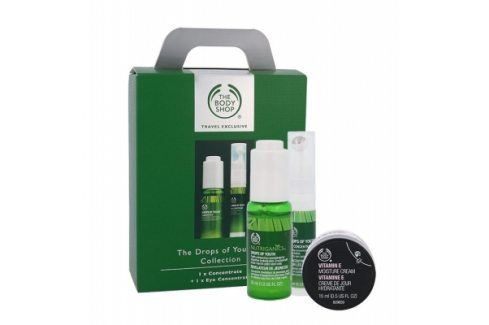 The Body Shop Nutriganic 30 ml dárková kazeta dárková sada proti vráskám pro ženy pleťová péče Drops Of Youth Concentrate 30 ml + oční péče Drops Of Youth Eye Concentrate 10 ml + pleťový krém Vitamin E Moisture Cream 15 ml Pleťová séra