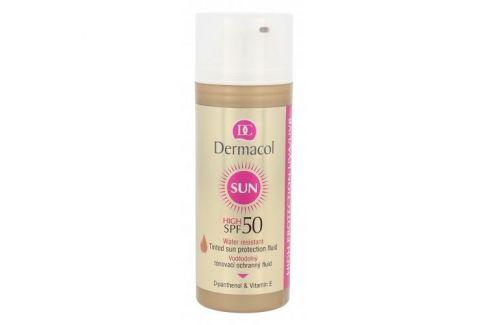 Dermacol Sun SPF50 50 ml voděodolný tónovací ochranný fluid pro ženy Opalovací přípravky na obličej