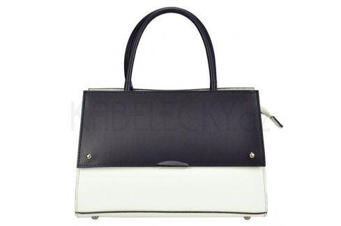 Dámská kožená kabelka Vera Pelle Angela - černo-bílá Kabelky a aktovky