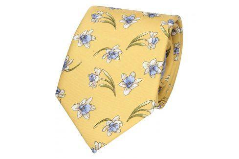 Pánská hedvábná kravata Rietti Ryan - žlutá Kravaty a motýlky