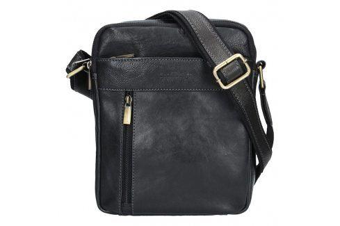 Panská kožená taška přes rameno SendiDesign Gidon - černá Tašky a aktovky