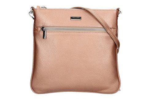Dámská kožená crossbody kabelka Facebag Paula - metalická růžová Kabelky