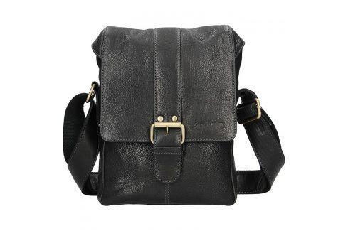 Panská kožená taška přes rameno SendiDesign Pier - černá Tašky a aktovky