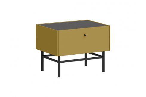 Noční stolek Germania MONTEO, antracit, olivově žlutá 2453-539 GERMANIA Noční stolky